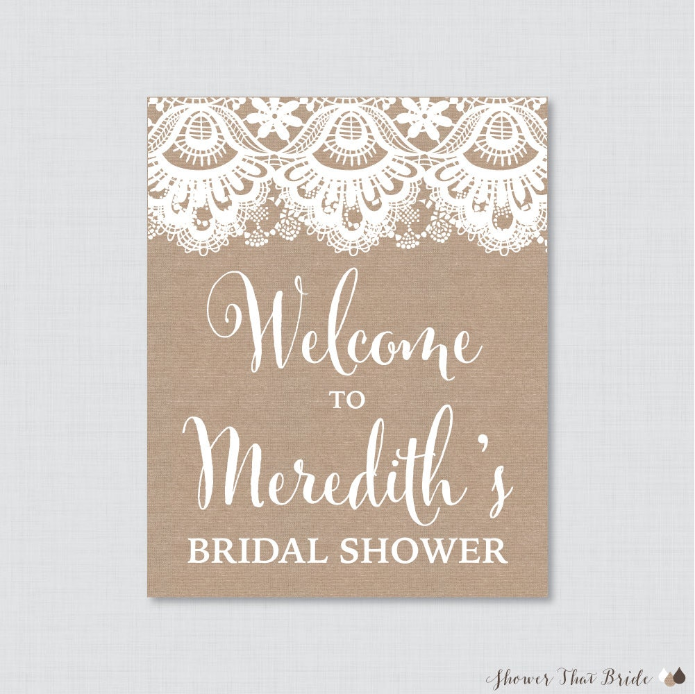 Burlap and lace bridal shower welcome sign printable rustic for Wedding shower signs