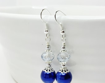 Royal Blue Drop Earrings Blue Pearl Dangle Earrings Blue Bridesmaid Gift Crystal Wedding Jewelry Mother of the Bride Pretty Wedding Earrings