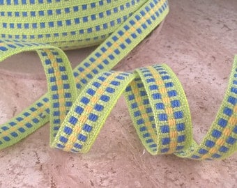 2 yards of green blocked band trim,,  green, blue, yellow 0,5 inch, sewing supplies, craft supplies