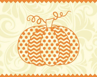 Polka Dot and Chevron Pumpkin -svg -ai -dxf -cdr -eps -jpeg -png -pdf -wmf -docx -Iron on Transfer  -Cricut -Vinyl Cutting -Laser Engraving
