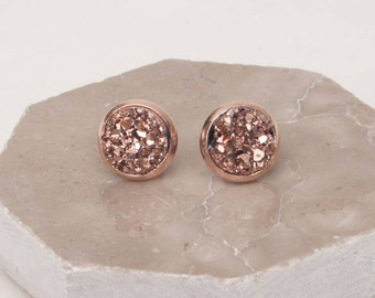 Wedding Sale, Rose gold Druzy Earrings, Druzy Earrings, 8mm Earrings, Rosegold Studs, Druzy Earrings, Gift Idea, Rose Gold, Bridesmaid Gift
