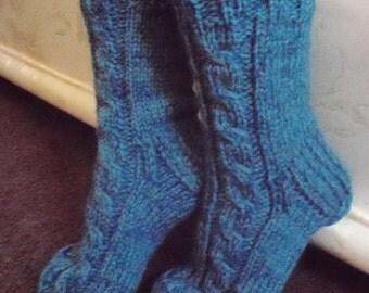 Blue hand knitted socks,shep wool,mohair wool thick bed socks.UK 4-12,USA 5-14,EU 35-47.Kozizake.