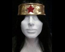 Metallic gold wonder woman stretch headband - headpiece - with red glitter star front!