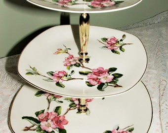 Vintage Midwinter StyleCraft 3 Tier Cake Stand Pink Cherry Blossoms Green Leaves Brown Stem Very Pretty