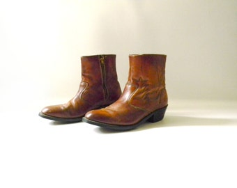 Men's Vintage Short Leather Cowboy Boots / Size 9.5
