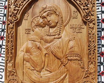 Orthodox icon Wood Carvings Virgin Mary Religious orthodox icon wedding anniversary gifts unique gifts for mom   FREE SHIPPING