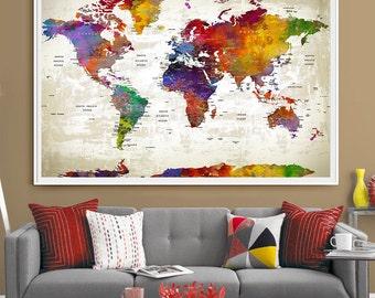 Push Pin Travel World Map Extra Large Wall Art   World Map Push Pin   World