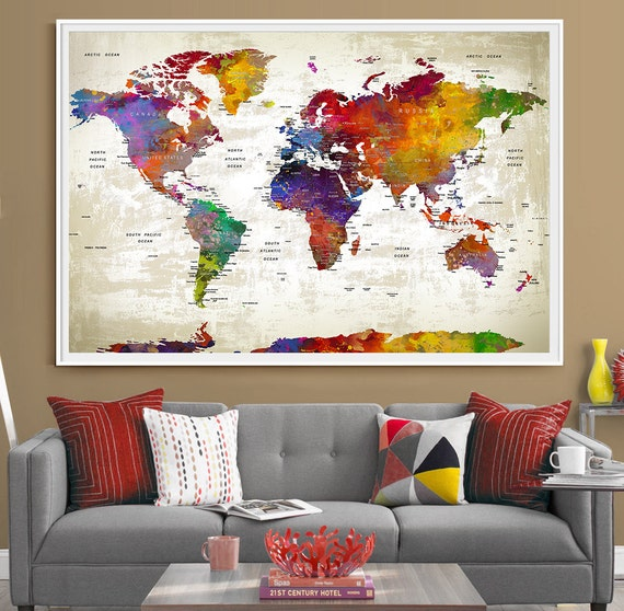 Push pin travel world map extra large wall art world map like this item gumiabroncs Gallery