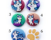 Corgi Buttons- Blue Marlie, Pins, magnets, Keychains, Ponytail Holders.