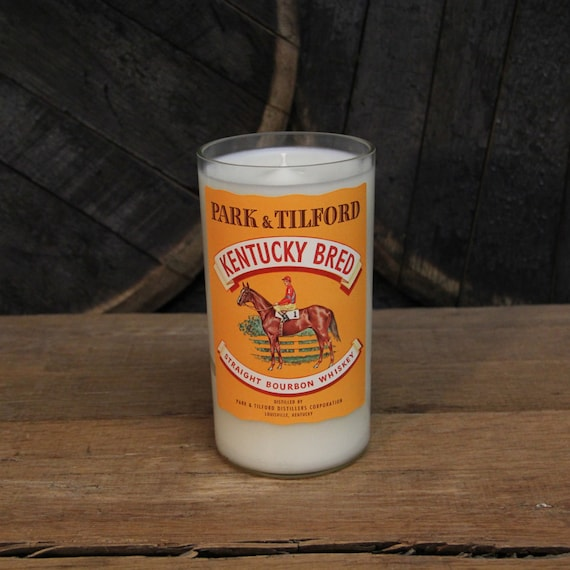 Kentucky Bred Bourbon Candle - Recycled Bourbon Bottle Candle Handmade Soy Candle 1 Liter Recycled Glass Bottle 22oz Soy Wax Man Cave Candle