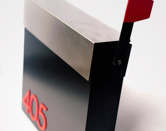 Free SHIPPING! Stylish black mailbox made from stainless steel. Custom numbers: any font, text or logo