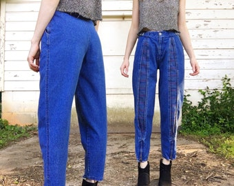 Vintage 80s Rare High Waisted Mid Blue Denim Rare Plaid Flannel Split Leg Cuff Zippers + Waist Buckles Grunge Tapered Mom Jeans 25 x 26