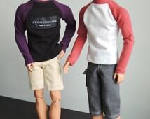 Handmade Ken doll clothes - Raglan Long Sleeve Roll-Neck Jumper - 3 STYLES AVAILABLE