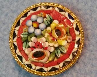 Intricate Micro Mosaic Brooch Pin~ Flowers