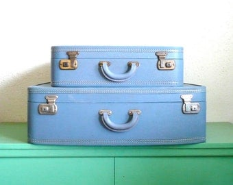 Pair of Blue Vintage Hard Shell Suitcases