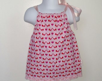 Foxes and Hearts Valentine's Day Pillowcase Dress
