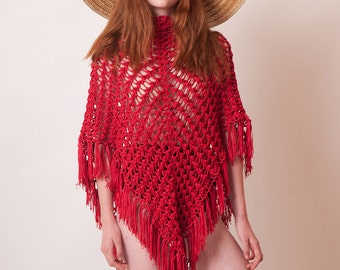 Red crochet poncho, fringe cotton tunic, beach cover up, summer poncho, bohemian wrap, women knitwear, boho clothes, OOAK, hippie style knit