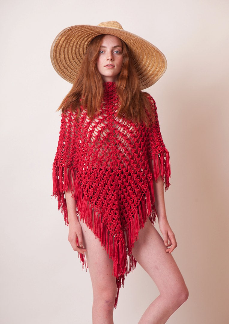 Red crochet poncho fringe cotton tunic beach cover up
