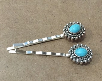 Turquoise Bobby Pins, Fall Hair Accessories, Turquoise Hair Bobby Pin, Silver Bobby Pins, Silver Bobby Pins