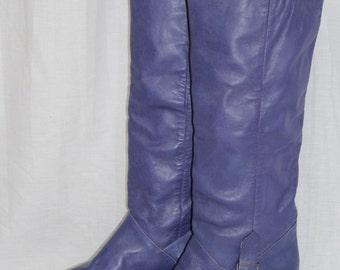 Vintage 80s Captivator PURPLE Leather Tall KNEE High Boots Buckles Unworn 8.5