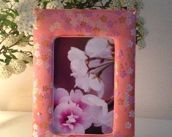 5x7 Sakura is blooming in Spring. White,gold and light purple Sakura flowers on pretty pink!!