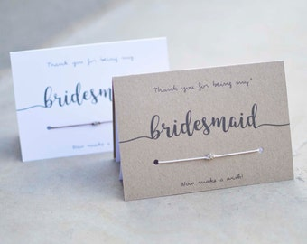 Bridesmaid Wish Bracelet and Thank you Card, Make a Wish Bracelet, Bridesmaid Gift, Greetings Card with Bracelet, Bridesmaid Proposal.