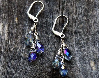 Blue Iridescent Crystal Dangle Earrings, Blue Iridescent Crystal Earrings, Blue Crystal Earrings,Blue Iridescent Crystal Jewelry