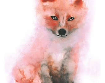 Mr Fox Watercolour Print