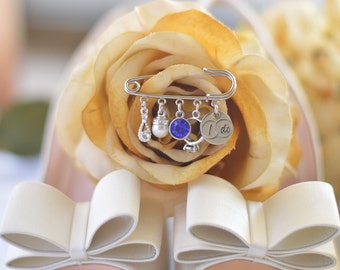 Silver Bridal Charm Pin