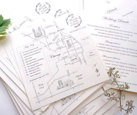 THE Classic Map Reservation | Custom Wedding Map. Hand Drawn Wedding Map. Personalized Map with Illustrations | Custom Map Invitation