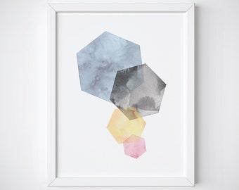 Hexagon Print - Minimalist Print, Geometric Printable, Hexagon Art, Wall Art Print, Scandinavian Print, Geometric Art, Minimalist home decor