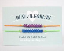 Set of 2 bracelets Dyed agate faceted rondelle  beads minimalist bracelet toho treasure seed beads