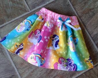 My Little Pony Skirt, My Little Pony Birthday Skirt, My Little Pony Party Skirt, Pinkie Pie, Rainbow Dash, Size 3 6 9 12 18 24 2T 3T 4T 5T 6