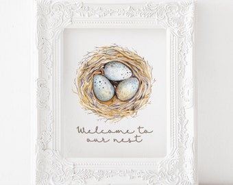 Welcome to our Nest Print, Welcome to our nest Printable, Birds nest print, birds nest printable, house warming gift, entry way printable