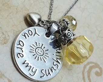 You Are My Sunshine | Charm Necklace w/Fillable Crystal | Memory Keeper | Cremation Jewellery | Urn Jewelry | 5 Color Choices w/Fill Kit