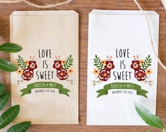 Custom Fall Wedding Candy Bags, Custom Favor Bags, Love is Sweet Treat Bags-BWE-37