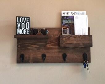 Rustic Coat rack and Mail Holder     -   (entryway organizer, mail organizer, shelf)