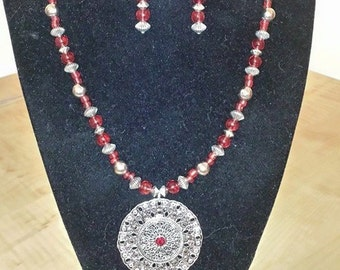 Red Necklace - Women's Necklace - Women's Red Necklace - Large Silver Pendant Necklace - Women's Jewelry - Red Earrings - Silver Jewelry Set