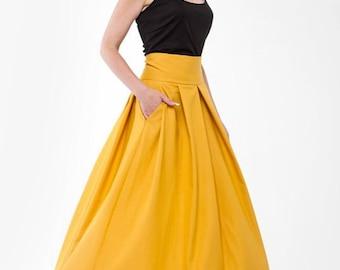 Maxi Skirt Mustard Pleats Flared Skirt Long.
