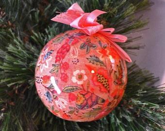 Vintage Pink Paper Mache' Ball Christmas Ornament