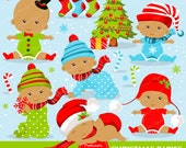 Christmas baby clipart commercial use, christmas baby clipart, christmas baby, african american baby - CA278