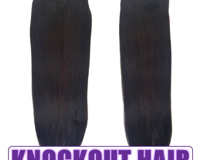"Fits like a Halo Hair Extensions 20"" Dark Red Brown (#4B) - Human No Clip In Flip In Couture by Knockout Hair"