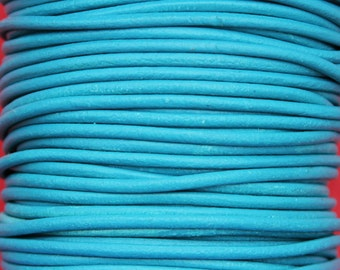 MADE IN SPAIN 6 feet 3mm leather cord, 3mm turquoise leather cord, 3mm round leather cord, (3AZL)