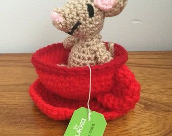 Made to Order: Crochet Amigurumi Tan Mouse in Red Teacup Set
