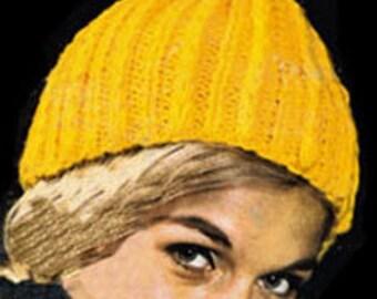 PDF Knit Pattern- Crochet vintage hat-Knit Hat Pattern 1970