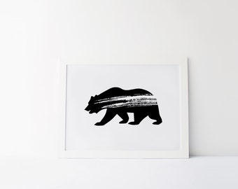 Bear Print, Animal Wall Art, Grunge, Modern Minimalist, Home Decor, Digital Art, Printable, Black and White, Woodland, Tribal