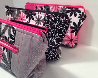 Playful Pink Flowers Cosmetics Bag with Multiple Zippers