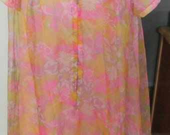Vintage Mod Floral  Double Layer Housecoat Duster Robe Short Size 16 Sanitized Lining Morsam Canada