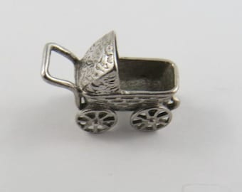 Baby Carriage  Sterling Silver Charm or Pendant.