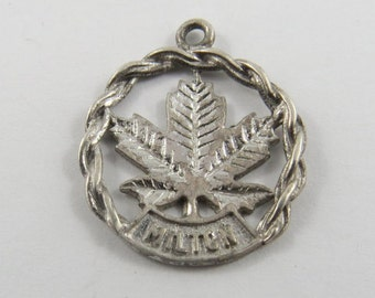 Canadian Maple Leaf with Town Of Milton Ontario Engraved Sterling Silver Charm or Pendant.
